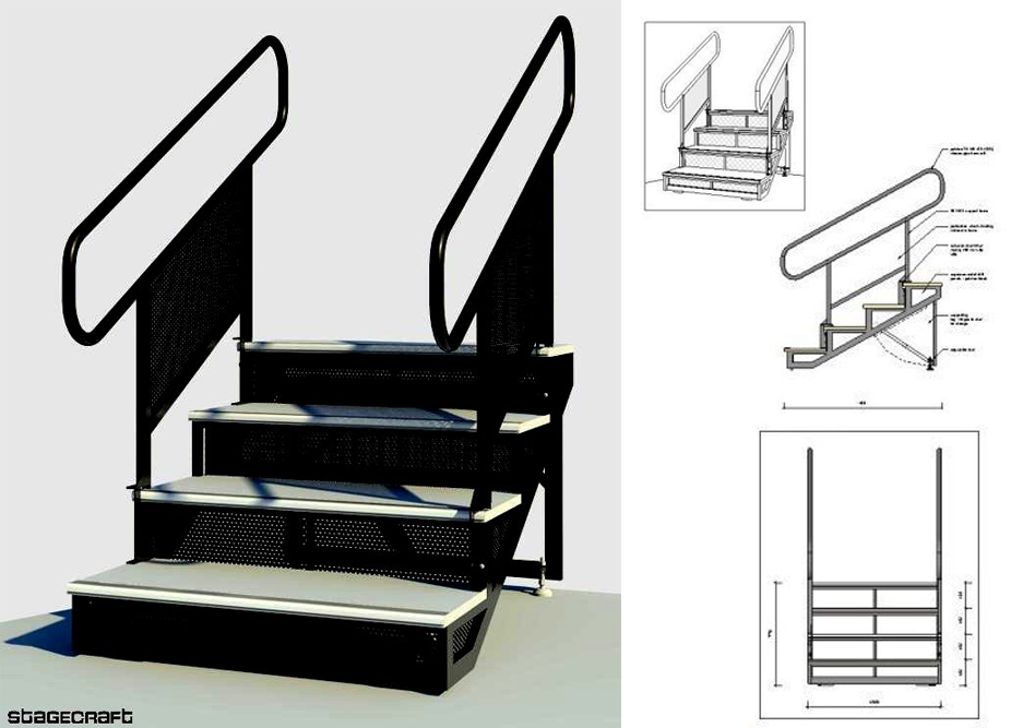 staging stairway with hand rails